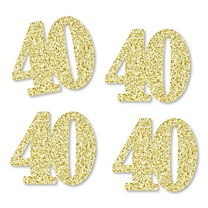 Gold Glitter 40 - No-Mess Real Gold Glitter Cut-Out Numbers - 40th Birthday Party Confetti - Set of 24