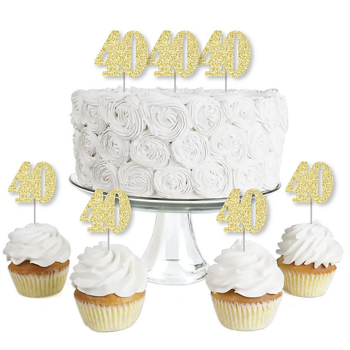 Gold Glitter 40 - No-Mess Real Gold Glitter Dessert Cupcake Toppers - 40th Birthday Party Clear Treat Picks - Set of 24