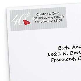 40th Anniversary - Personalized Wedding Anniversary Return Address Labels - 30 ct