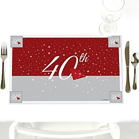 40th Anniversary - Party Table Decorations - Wedding Anniversary Placemats - Set of 12