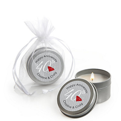 40th Anniversary Personalized Wedding Candle Tin Favors Set Of 12