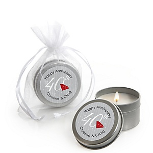 40th Anniversary - Personalized Wedding Anniversary Candle Tin Favors - Set of 12