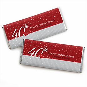 40th Anniversary - Personalized Candy Bar Wrappers Wedding Anniversary Party Favors - Set of 24