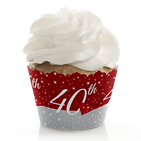 40th Anniversary - Wedding Anniversary Decorations - Party Cupcake Wrappers - Set of 12
