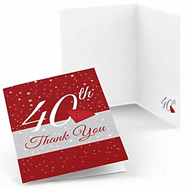 40th Anniversary - Wedding Anniversary Thank You Cards - 8 ct