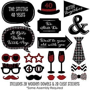 40th Anniversary - 20 Piece Photo Booth Props Kit