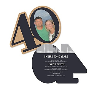 40th Milestone Birthday - Dashingly Aged to Perfection - Personalized Shaped Photo Birthday Party Invitations - Set of 12