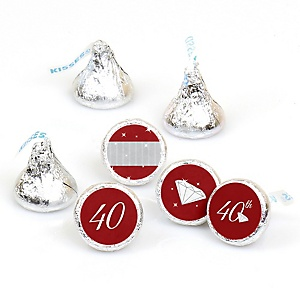 40th Anniversary - Round Candy Labels Wedding Anniversary Favors - Fits Hershey's Kisses - 108 ct