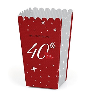 40th Anniversary - Personalized Anniversary Popcorn Favor Treat Boxes - Set of 12