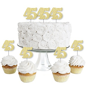 Gold Glitter 45 - No-Mess Real Gold Glitter Dessert Cupcake Toppers - 45th Birthday Party Clear Treat Picks - Set of 24
