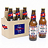 4th of July - Independence Day - 6 Beer Bottle Label Stickers 1 Carrier