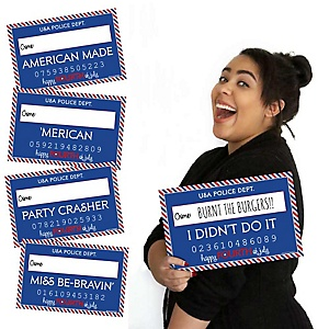 4th of July - Independence Day Party Mug Shots - 20 Piece Photo Booth Props Kit