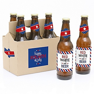 4th of July - Independence Day - Decorations for Women and Men - 6 Beer Bottle Label Stickers 1 Carrier