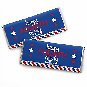 4th of July - Personalized Candy Bar Wrapper Independence Day Party Favors - Set of 24