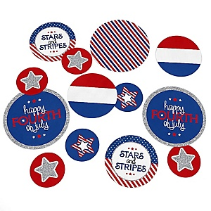 4th of July - Independence Day Party Giant Circle Confetti - Stars & Stripes Party Decorations - Large Confetti 27 Count