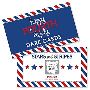 4th of July - Independence Day Party Game Scratch Off Dare Cards - 22 Count