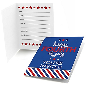 4th of July - Fill In Independence Day Party Invitations - 8 ct