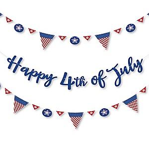 4th of July - Independence Day Letter Banner Decoration - 36 Banner Cutouts and Happy 4th of July Banner Letters