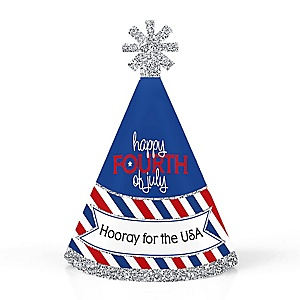 4th of July - Personalized Mini Cone Independence Day Party Hats - Small Little Party Hats - Set of 10