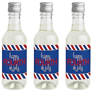 4th of July - Mini Wine and Champagne Bottle Label Stickers - Independence Day Favor Gift for Women and Men - Set of 16