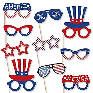 Patriotic Glasses – Paper Card Stock Memorial Day or Independence Day Party Photo Booth Props Kit – 10 Count