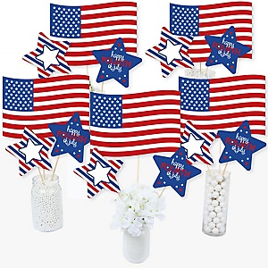 4th of July - Independence Day Centerpiece Sticks - Table Toppers - Set of 15