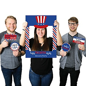 4th of July - Personalized Independence Day Party Selfie Photo Booth Picture Frame & Props - Printed on Sturdy Material