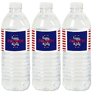 4th of July - Independence Day Water Bottle Sticker Labels - Set of 20