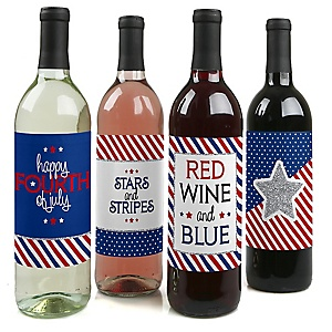 4th of July - Independence Day Decorations for Women and Men - Wine Bottle Labels - Set of 4