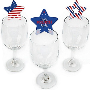 4th of July - Shaped Independence Day Party Wine Glass Markers - Set of 24