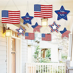 Hanging 4th of July - Outdoor Independence Day Party Hanging Porch & Tree Yard Decorations - 10 Pieces