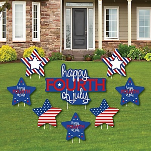 4th of July - Yard Sign & Outdoor Lawn Decorations - Independence Day Party Yard Signs - Set of 8