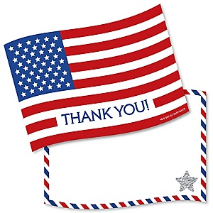 4th of July - Shaped Thank You Cards - Independence Day Thank You Note Cards with Envelopes - Set of 12