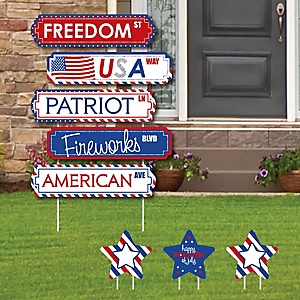 4th of July - Street Sign Cutouts - Independence Day Party Yard Signs & Decorations - Set of 8