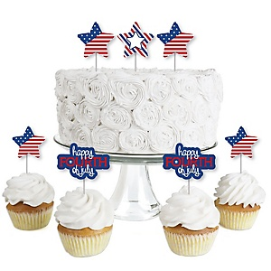 4th of July - Dessert Cupcake Toppers - Independence Day Party Clear Treat Picks - Set of 24
