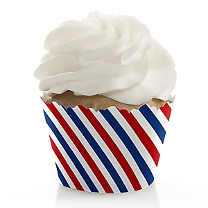 Red, White & Blue - Memorial Day Party Decorations - Party Cupcake Wrappers - Set of 12 - Veteran's Day & President's Day Party Ideas Party Ideas