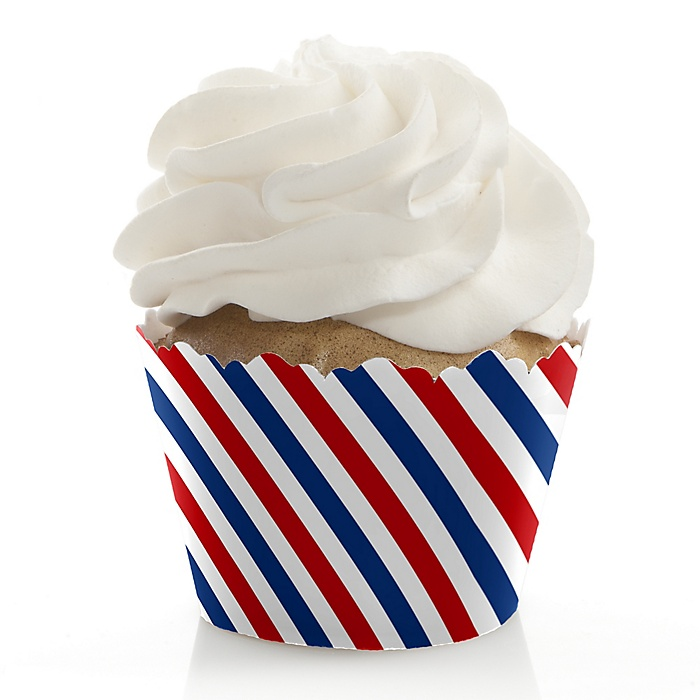 Red, White & Blue - 4th of July Independence Day Party Decorations - Party Cupcake Wrappers - Set of 12 - Veteran's Day & President's Day Party Ideas Party Ideas