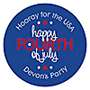 4th of July - Round Personalized Independence Day Sticker Labels - 24 ct