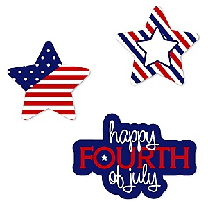 4th of July - DIY Shaped Independence Day Paper Cut-Outs - 24 ct