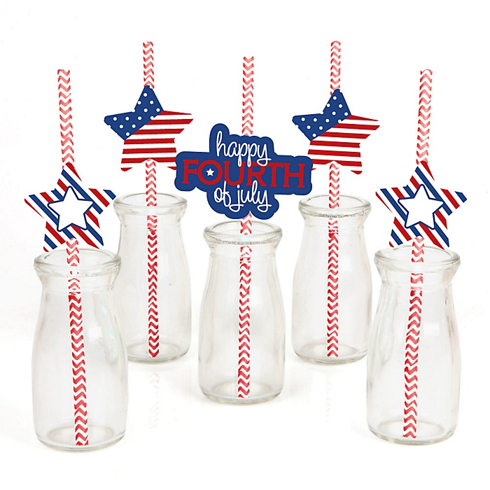 4th of July - Paper Straw Decor - Independence Day Party Striped Decorative Straws - Set of 24