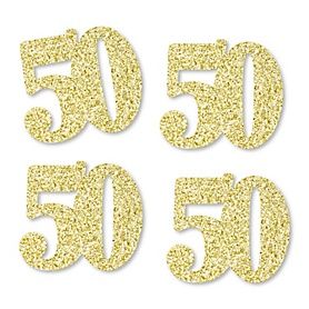 Gold Glitter 50 - No-Mess Real Gold Glitter Cut-Out Numbers - 50th Birthday Party Confetti - Set of 24
