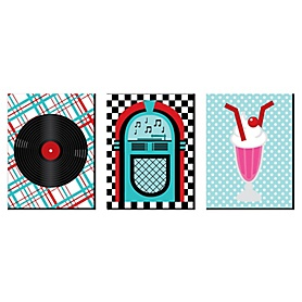 50's Sock Hop - 1950s Wall Art, Room Decor and Rock N Roll Themed Room Home Decorations - 7.5 x 10 inches - Set of 3 Prints