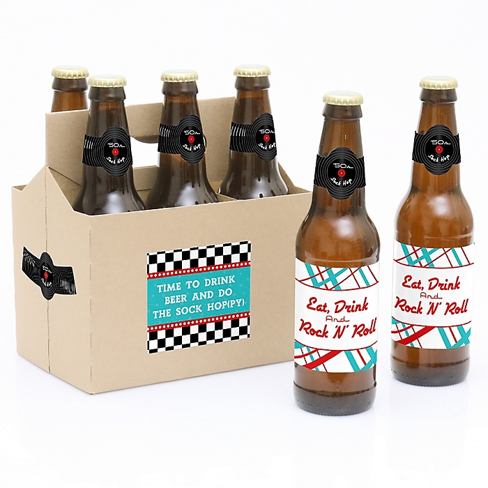 50's Sock Hop - 1950s Rock N Roll- 6 Beer Bottle Label Stickers and 1 Carrier
