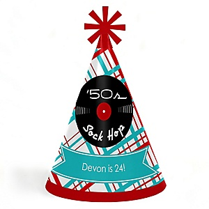 50's Sock Hop - Personalized 1950s Rock N Roll Cone Birthday Party Hats for Kids and Adults - Set of 8 (Standard Size)