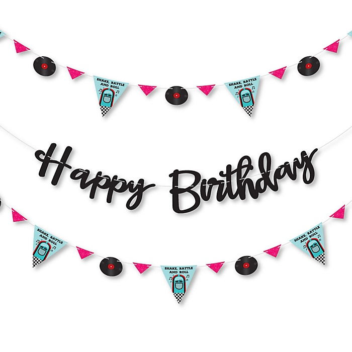 50's Sock Hop - 1950s Rock N Roll Birthday Party Letter Banner Decoration - 36 Banner Cutouts and Happy Birthday Banner Letters