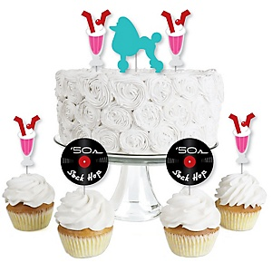 50's Sock Hop - Dessert Cupcake Toppers - 1950s Rock N Roll Party Clear Treat Picks - Set of 24