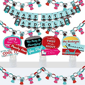 50's Sock Hop - Banner and Photo Booth Decorations - 1950s Rock N Roll Party Supplies Kit - Doterrific Bundle