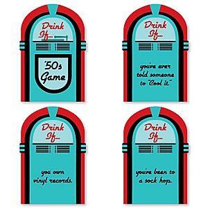 50's Sock Hop - Drink If 1950s Rock N Roll Party Game - Set of 24