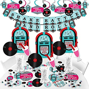 50's Sock Hop - 1950s Rock N Roll Party Supplies - Banner Decoration Kit - Fundle Bundle