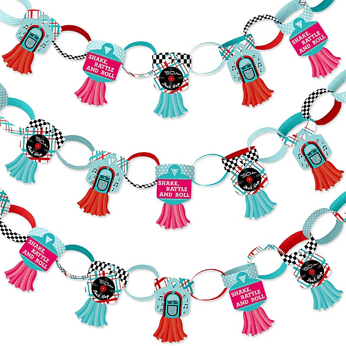 50's Sock Hop - 90 Chain Links and 30 Paper Tassels Decoration Kit - 1950s Rock N Roll Party Paper Chains Garland - 21 feet